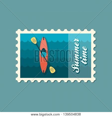 Kayak stamp. Canoe vector. Beach. Summer. Summertime. Holiday. Vacation eps 10