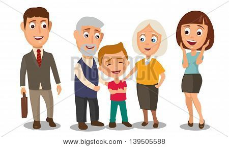 Happy family with boy. Grandmother and grandfather. Surprised woman and businessman