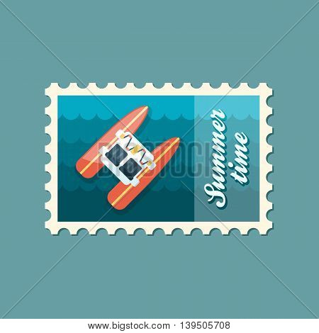 Pedalo boat beach vector stamp. Beach. Summer. Summertime. Holiday. Vacation eps 10
