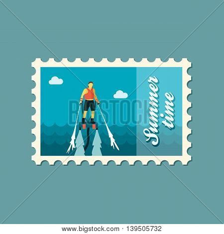 FlyBoard FlySurf vector stamp. Beach. Summer. Summertime. Holiday. Vacation ride water sport eps 10