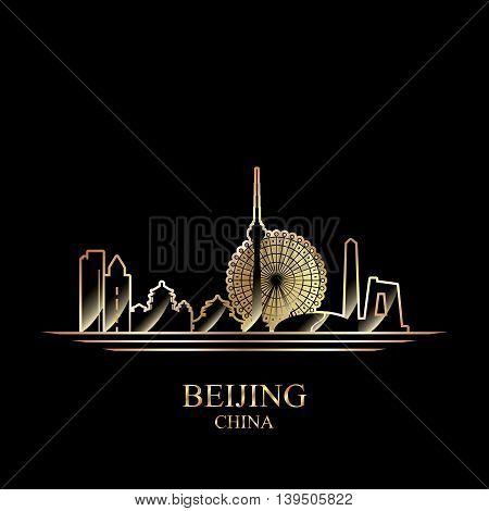 Gold silhouette of Beijing on black background vector illustration