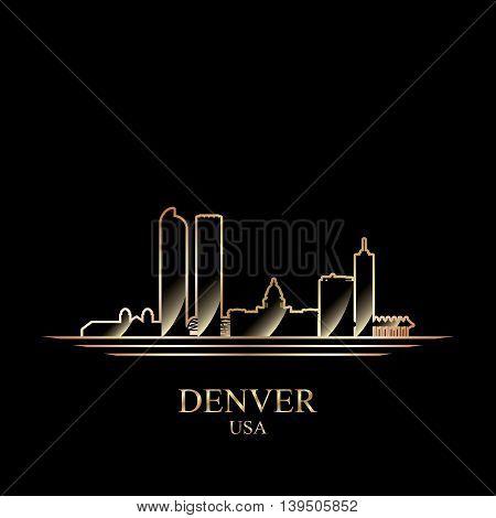 Gold silhouette of Denver on black background vector illustration