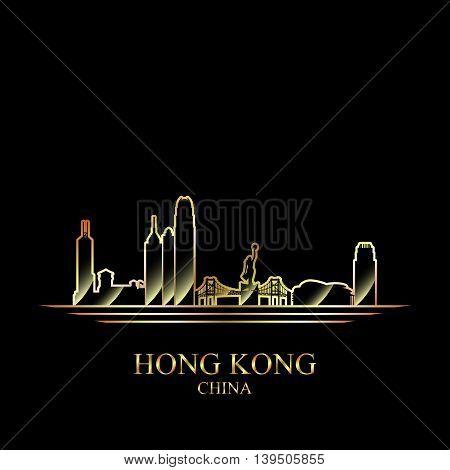Gold silhouette of Hong Kong on black background vector illustration