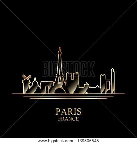 Gold silhouette of Paris on black background vector illustration