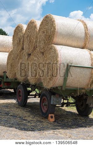 agricultural trailer with animal food straw in the sun