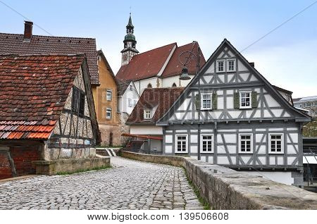 The walking street of Waiblingen with old half-timbered houses and the church. Baden-Wurttemberg Germany.