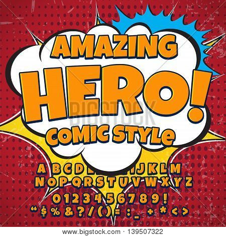 Creative high detail retro comic font. orange color hero style of comics, pop art. Letters and figures for decoration