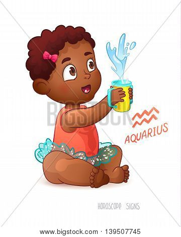 Zodiac sign Aquarius. African American Cute Girl Enjoys Splashes in Feeding Cup. Water Game.
