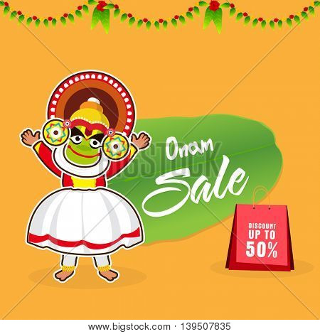 Onam Sale with Discount upto 50%, Vector illustration of Kathakali Dancer on yellow background, Can be used as Poster, Banner or Flyer design.