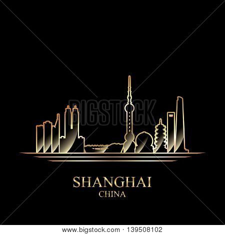 Gold silhouette of Shanghai on black background vector illustration