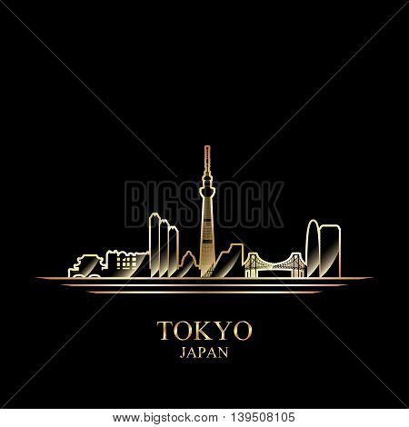 Gold silhouette of Tokyo on black background vector illustration