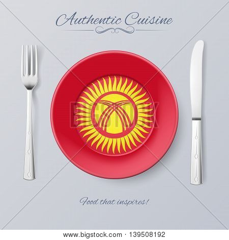 Authentic Cuisine of Kyrgyzstan. Plate with Kyrgyz Flag and Cutlery