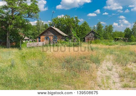 June landscape with peasant houses in Mala Rublivka Poltavskaya oblast Ukraine