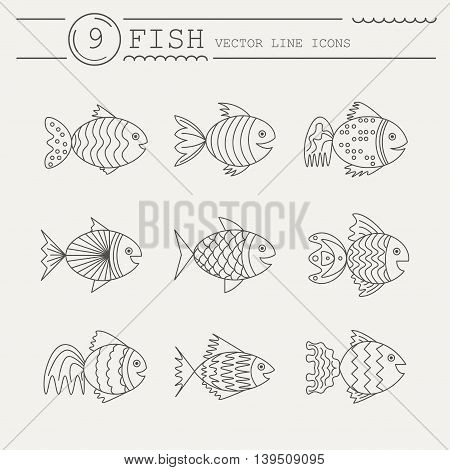 Set of icons with fish. Vector. Abstract