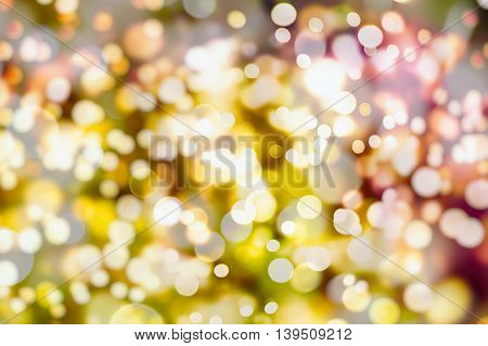 Festive background with natural bokeh and bright lights. Vintage Magic background with colorful bokeh.