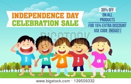 Independence Day celebration Sale and Discount, Beautiful Sale Background with cute kids wearing t-shirts making word India, Can be used as Poster, Banner or Flyer design.