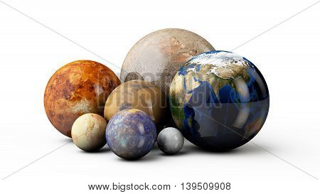 he 3D planets Earth Mars Moon Jupiter Pluton mercury on the white background