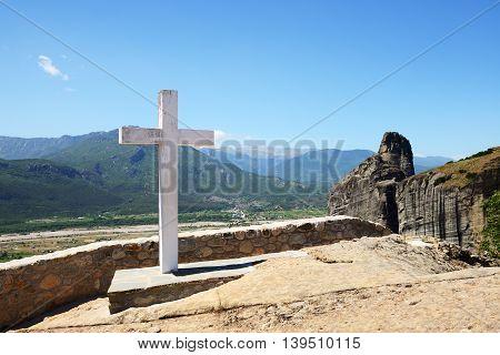 The cross is near Monastery of Holy Trinity Meteora Greece
