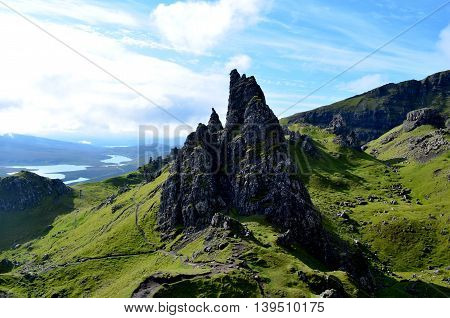 Rocky pinnacles at the Old Man of Storr.