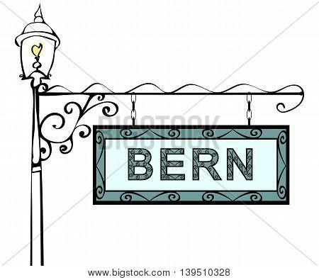 Bern retro pointer lamppost. Bern Capital Switzerland tourism travel.