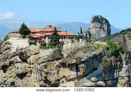 View on the Monastery of Holy Trinity Meteora Greece