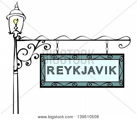 Reykjavik retro pointer lamppost. Reykjavik Capital Iceland tourism travel.