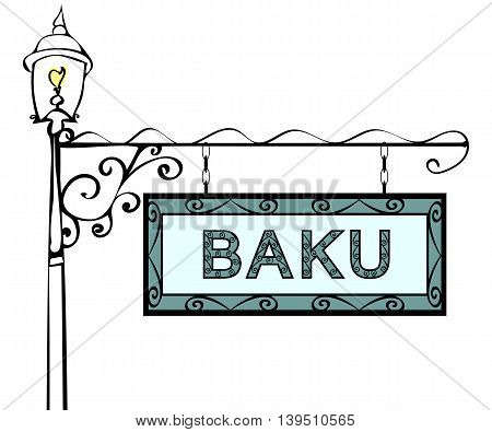Baku retro pointer lamppost. Baku Capital Azerbaijan tourism travel.