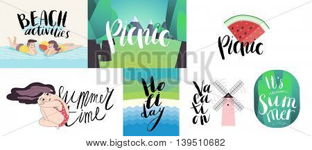 Lettering on beach, picnic, vacation and summer - seven vector cartoon illustrated script writings Beach, Holiday, Summer Time, Vacation, Picnic