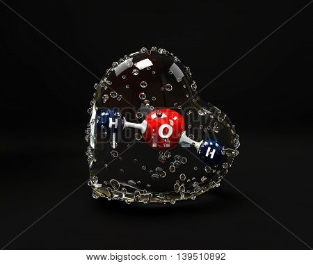 A 3D Illustration molecule of water with a condinsation heart on a black background