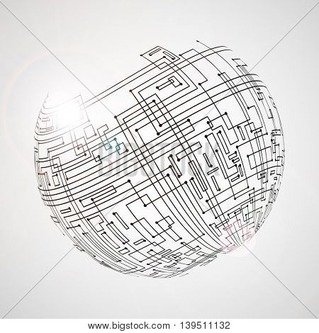 High-Technology Abstract Background with Globe for Global Network Connections. Vector Illustration.