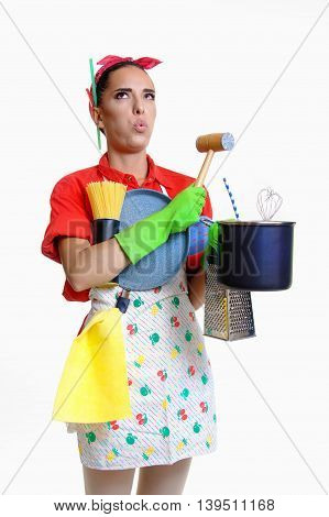girl doesn't want to wash dirty dishes