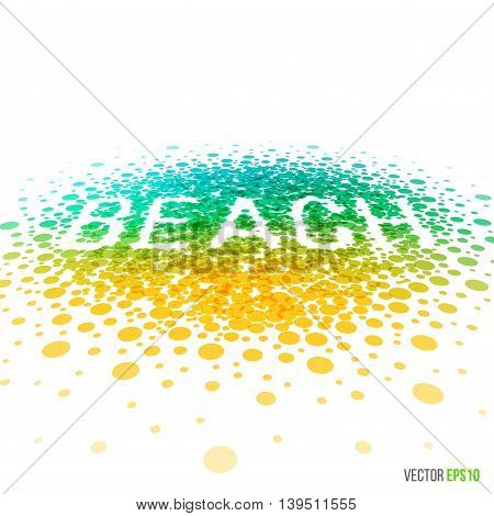Summer beach beautiful design for greeting card template layout with splash, particles and artistic explosion effect for party, holiday, festival and celebration concept. Blue yellow vector.