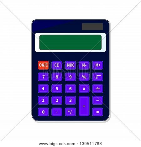 Vector illustration of mini electronic counting machine. Calculator isolated on white background. Calculating machine.