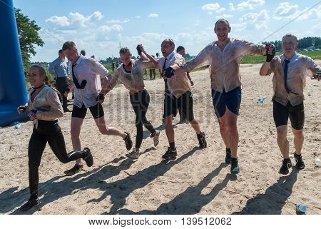 Tyumen, Russia - July 9, 2016: Steel Character extrim race on Voronino Hill. Team finishes