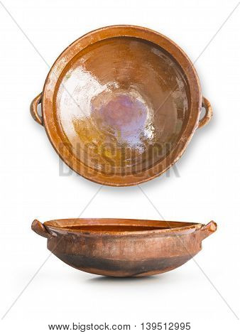 the ceramic pot isolated on white background