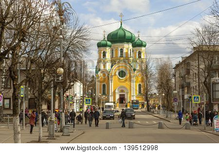 GATCHINA, RUSSIA  -  APRIL 24, 2016: Photo of Street Cathedral and Cathedral of St. Paul.