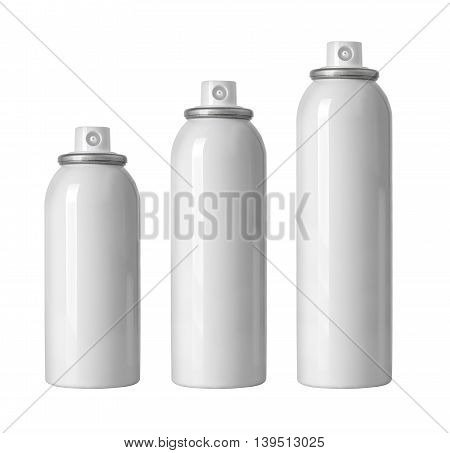 cosmetic spray bottles set isolated on white background
