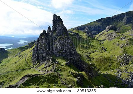 Towering rock pinnacles at the Old Man of Storr in Scotland.