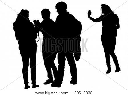 Women with a camera in crowds on white background