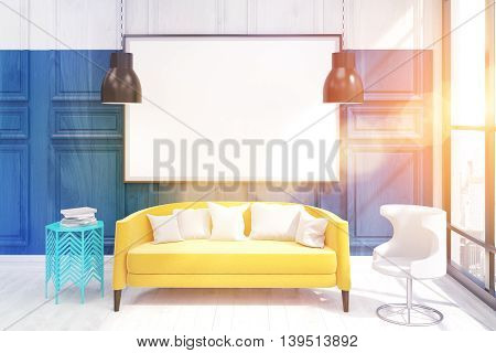 Interior of stylish living room with large poster above yellow sofa. 3D render. Mock up. Toned image