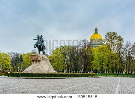 Senate Square in St. Petersburg and the monument to Peter the Great made by E. Falcone in 1770