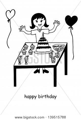 Doodle or naive art illustration of a birthday girl