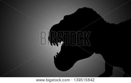 Silhouette illustration of a tyrannosaurus rex on dark background