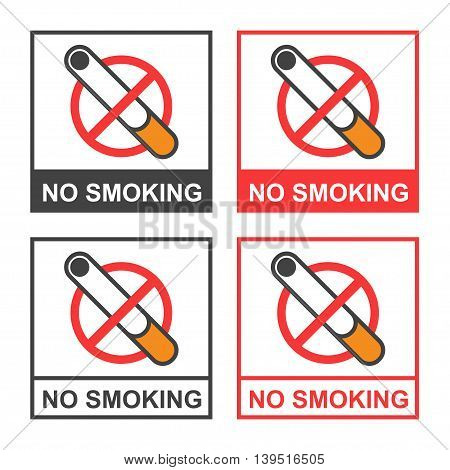 Vector clipart icon on the dangers of smoking - no smoking signs