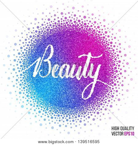 Beauty design for greeting card template, with splash and artistic explosion effect. Pink, blue, purple vector.