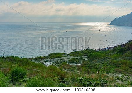 Russia Krasnodar region - Black sea 21.07.2016: View from the mountains to the Bay Inal on the Black Sea