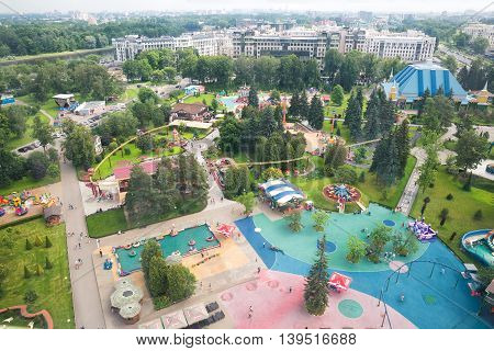 ST. PETERSBURG RUSSIA - JUNE 26 2016: Top view of the largest amusement Parks in St. Petersburg Divo-Ostrov