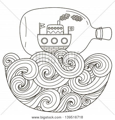 Ship in bottle floating on the wavy sea for coloring page. Black and white fantasy art in zentangle style. Vector illustration