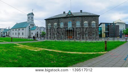 The Parliament (althingi) House And The Cathedral (domkirkjan), Reykjavik