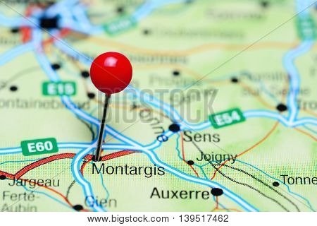 Montargis pinned on a map of France